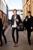 Models leaving Emporio Armani