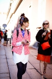 Susie Bubble arriving at Missoni show after a quick Gelato