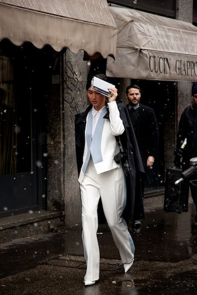 Blogger sensatation Gary Pepper Girl leaving Sportmax in trendy winter whites