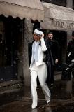 Blogger sensatation Gary Pepper Girl leaving Sportmax in trendy winter whites