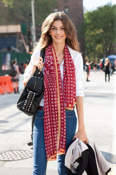 The Bvlgari scarf pop of color