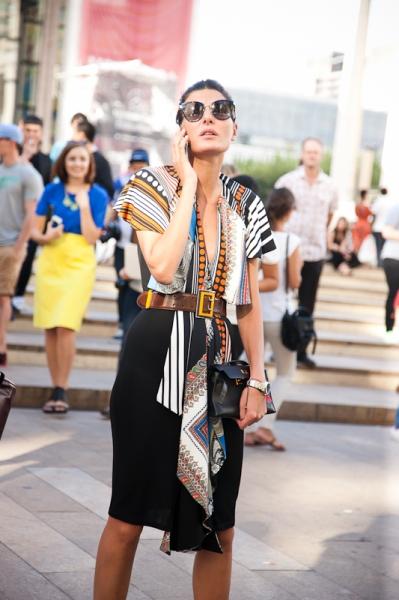 Giovanna Battaglia leaving LIncoln Center