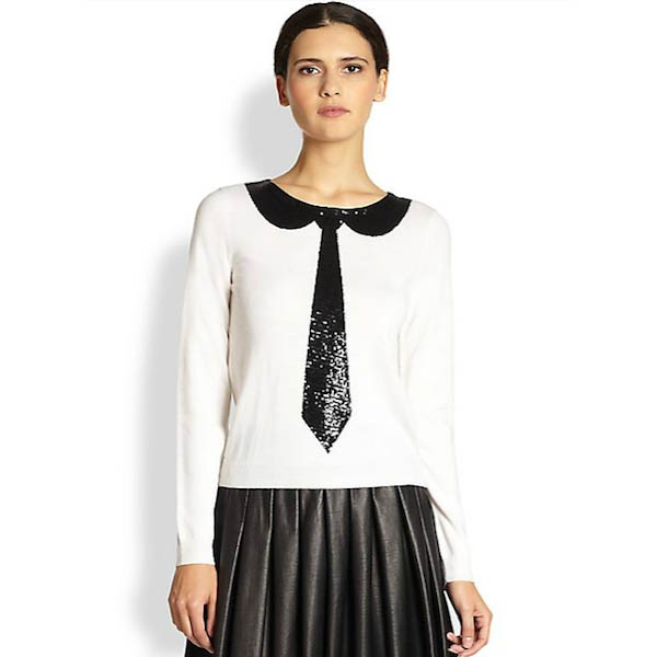 Alice + Olivia Delray Sequin Tie Sweater