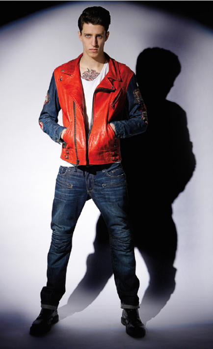 PERFECTO LEATHER JACKET IN RED AND 3D DARK AND MOTARD JEAN IN 3D DARK