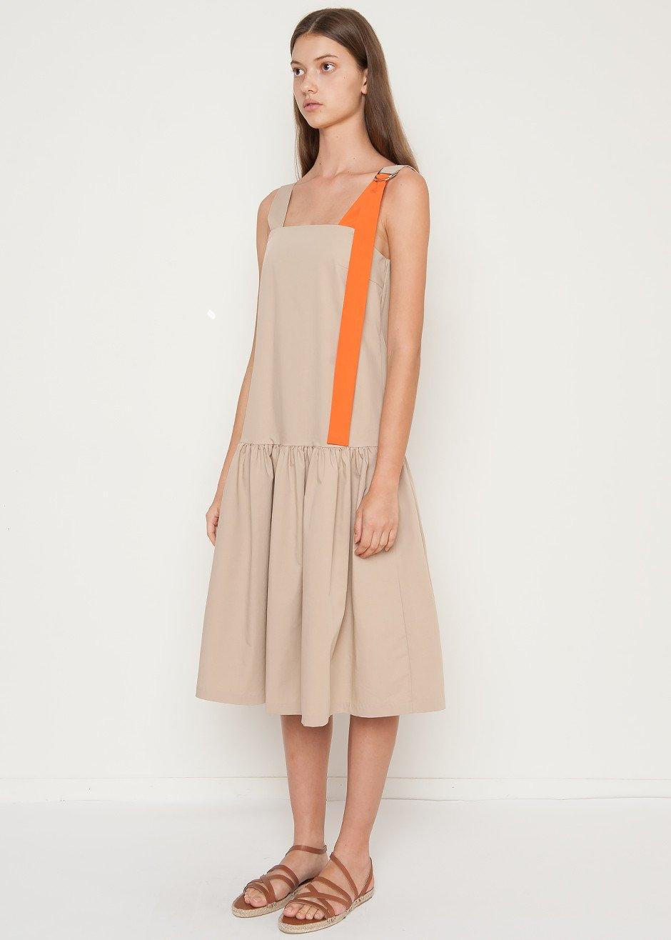 The Frankie Shop  25 Statement-Making Spring Dresses Under $100 The Frankie Shop Khaki 2 Tone Dress