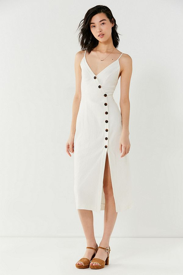 Urban Outfitters  25 Statement-Making Spring Dresses Under $100 Urban Outfitters Amber Button Down Linen Midi Dress
