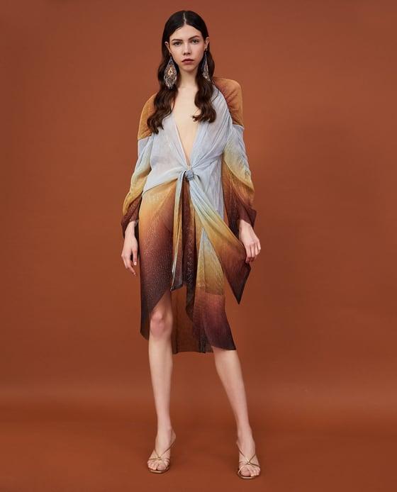 Zara  25 Statement-Making Spring Dresses Under $100 Zara Metallic Thread Pleated Dress