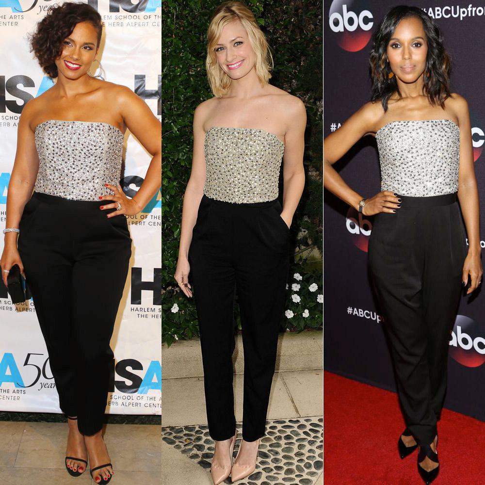Alicia Keys, Beth Behrs and Kerry Washington in Alice + Olivia