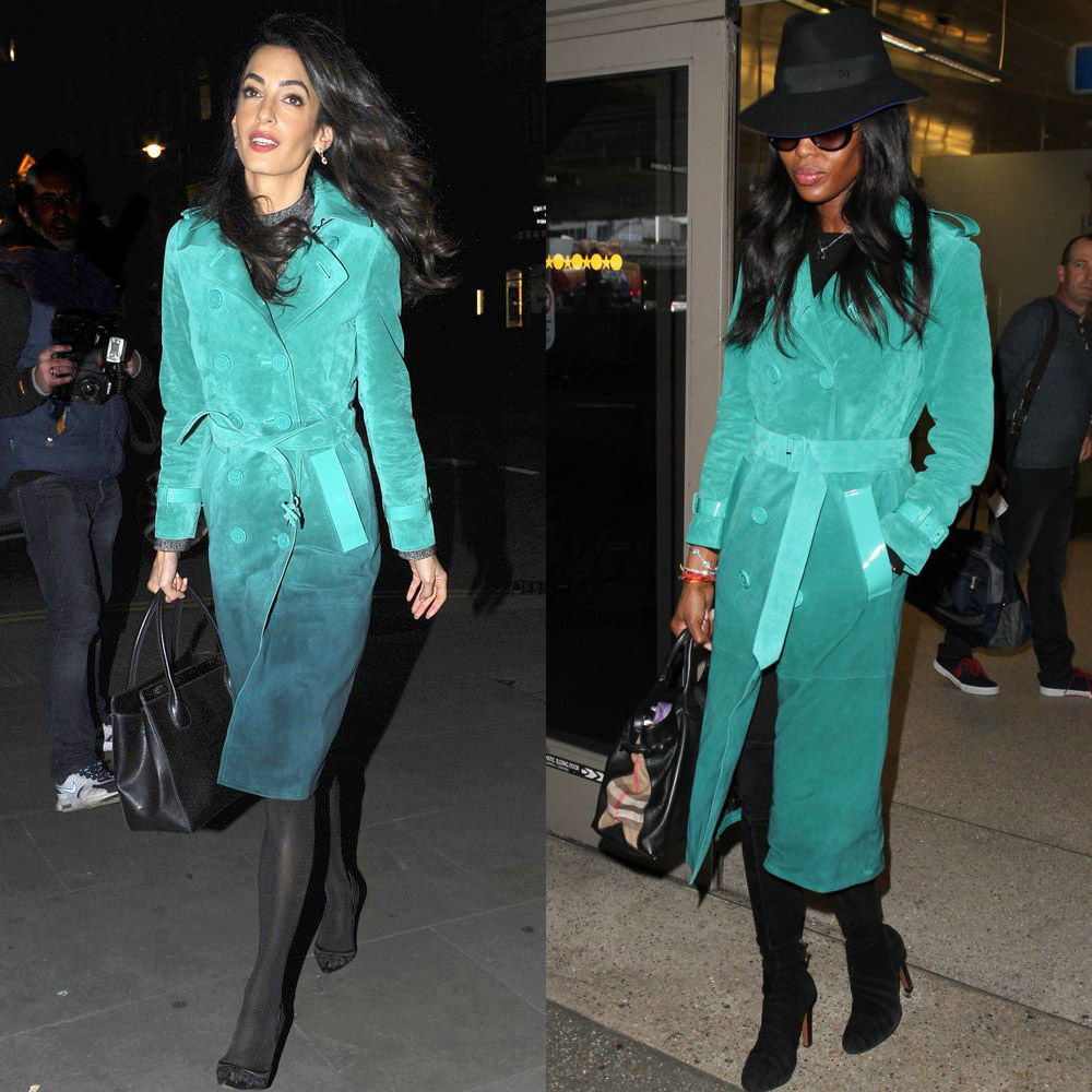 Amal Clooney and Naomi Campbell in Burberry Prorsum