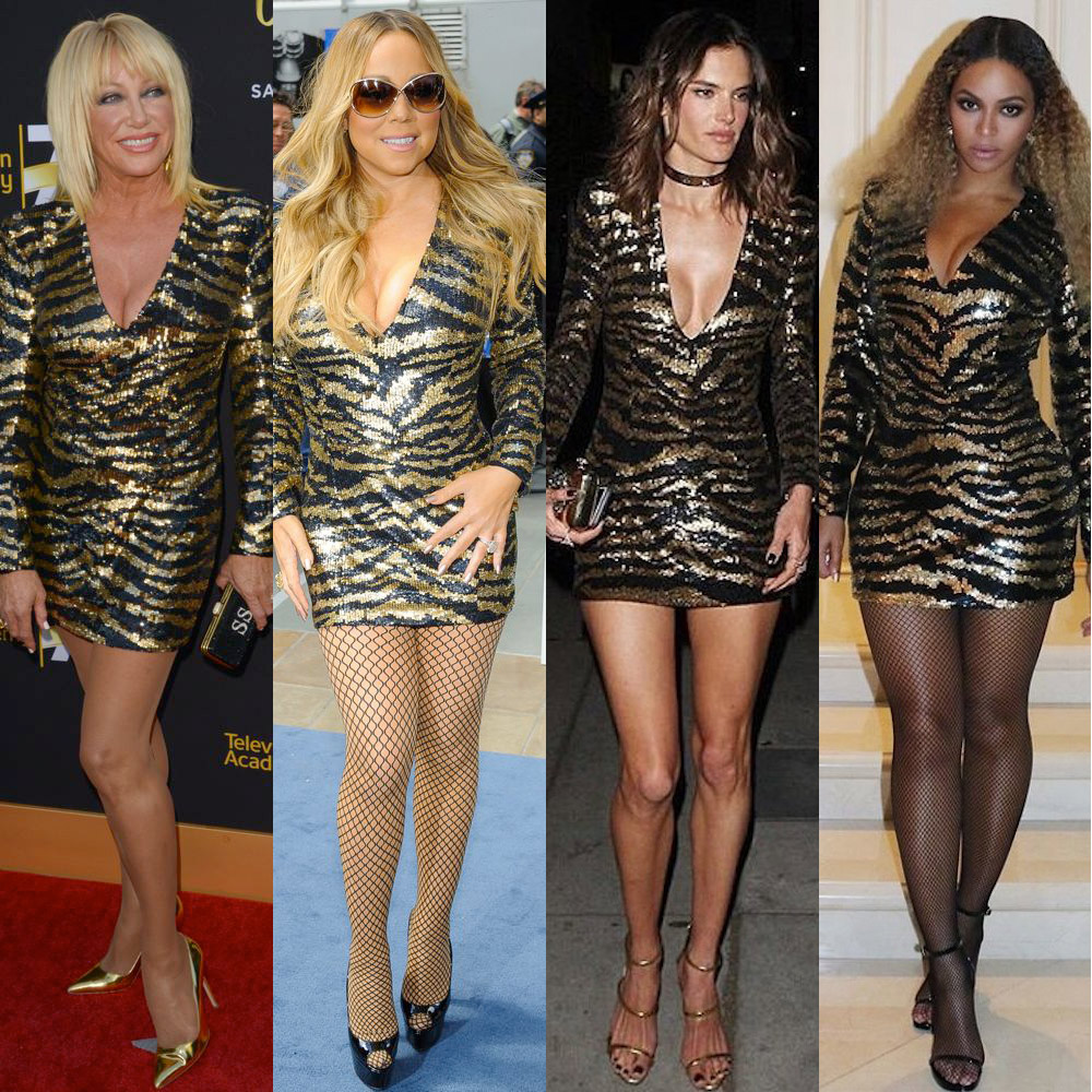 Suzanne Somers, Mariah Carey, Alessandra Ambrosio and Beyoncé in Balmain