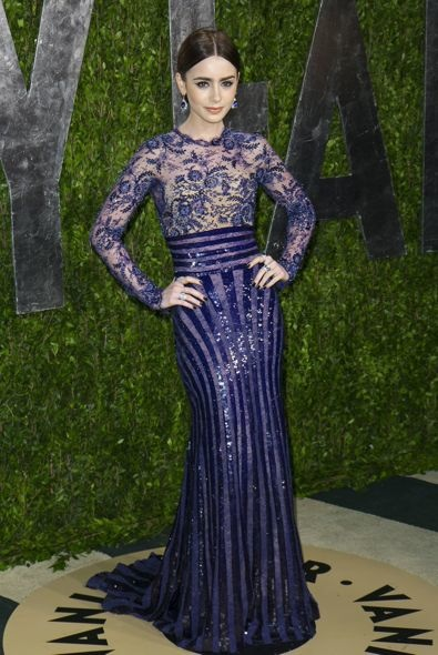 4. Lily Collins at the Vanity Fair Oscar Party