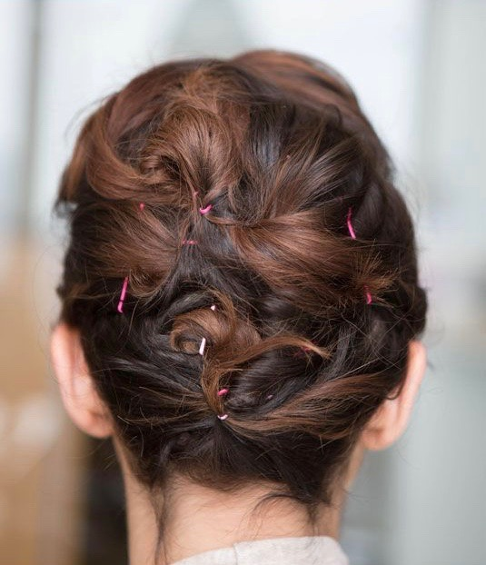Pinned Up Pompadour. Easy Messy Updo. Easy Curly Hair Updo