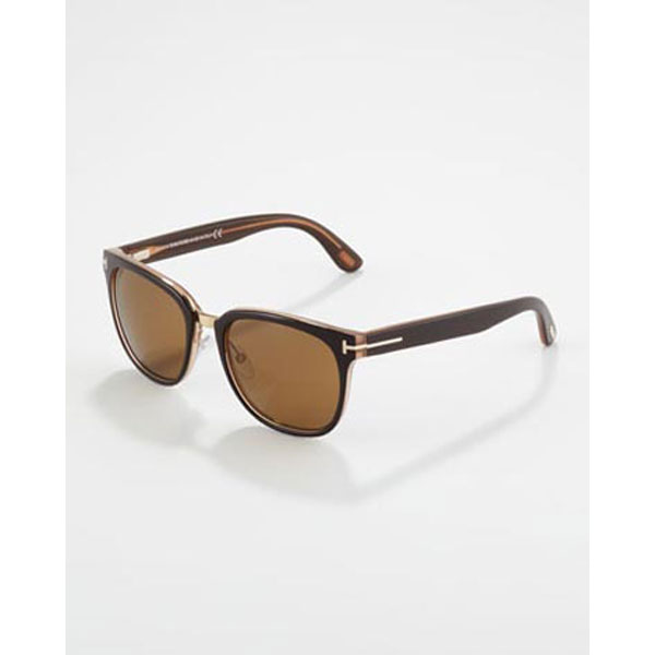 Tom Ford Rock Clubmaster Sunglasses in Shiny Brown
