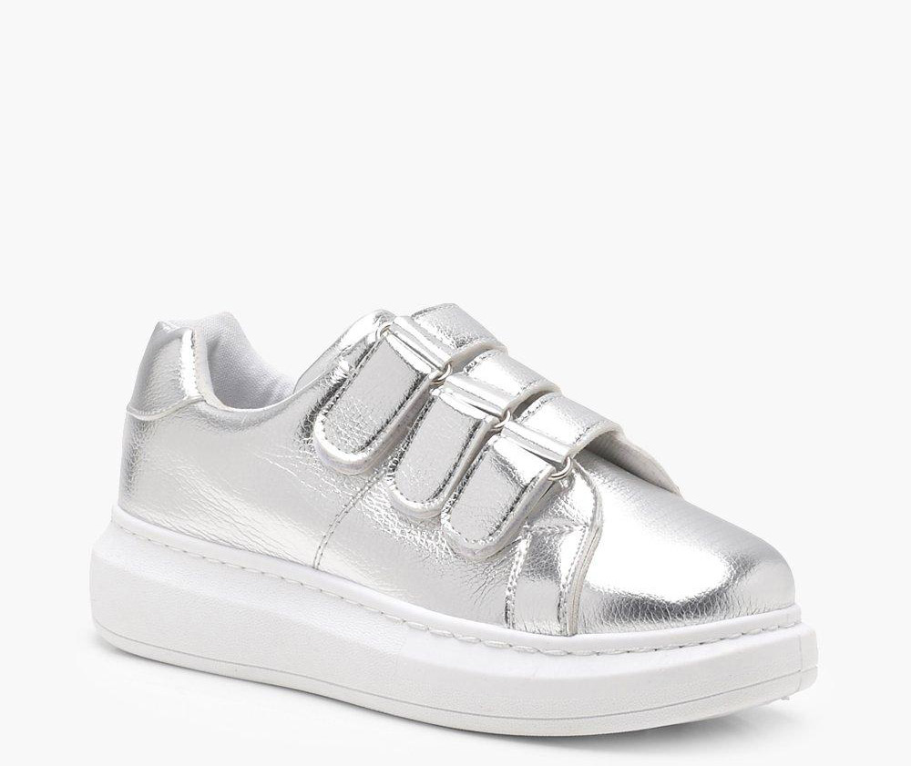 Boohoo  Velcro Sneakers Are the Latest 'Ugly' Shoes to Be Embraced By the Fashion Set boohoo sophie velcro metallic platform trainers