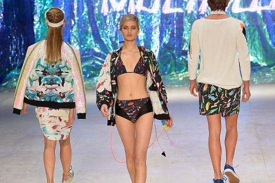 A model showcases designs by XXX on the runway at the MBFWA Trends show during Mercedes-Benz Fashion Festival Sydney 2013 at Sydney Town Hall on August 23, 2013 in Sydney, Australia.