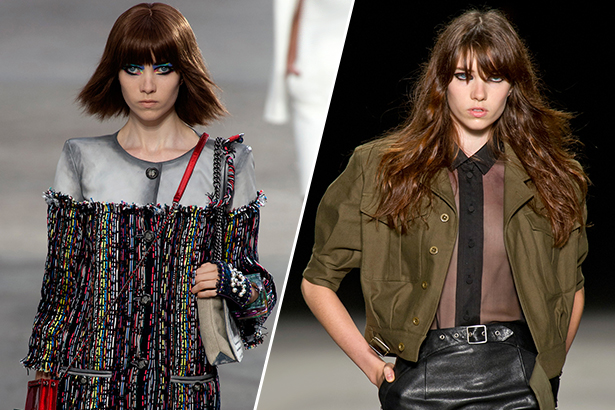Grace Hartzel for Chanel SS14 (left) and Saint Laurent SS14 (right) / Image: IMAXtree