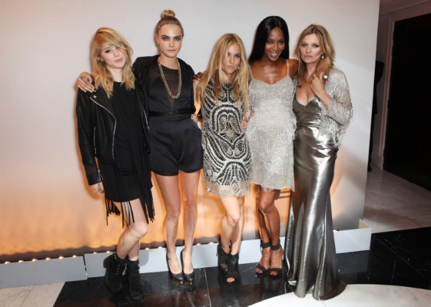 Suki Waterhouse, Cara Delevingne, Sienna Miller, Naomi Campbell and Kate Moss all in Kate Moss for Topshop