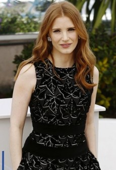 Jessica Chastain Caps Off Alexander McQueen's Black Dress with Colorful Paul Andrew Pumps