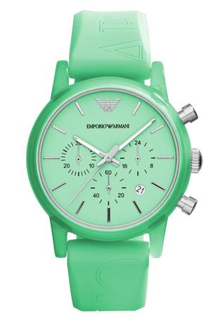 green rubber strap armani sport watch