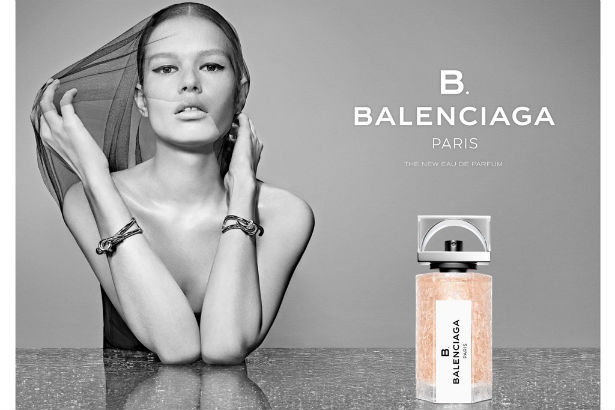 Anna Ewer shown posing topless for Balenciaga's new fragrance B