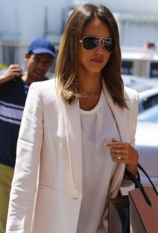 Jessica Alba Adds a Bit of Color to Her Ivory Max Mara Blazer with Plum Julia Korol Trousers