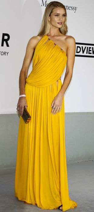 Rosie Huntington-Whiteley poses in Emilio Pucci's saffron draped gown