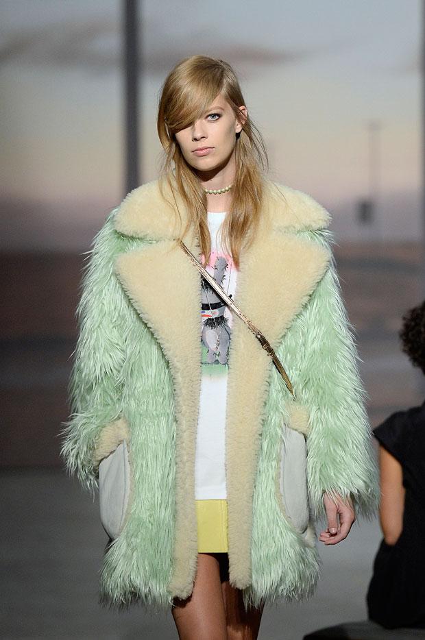 pastel furs at Coach Spring 2015
