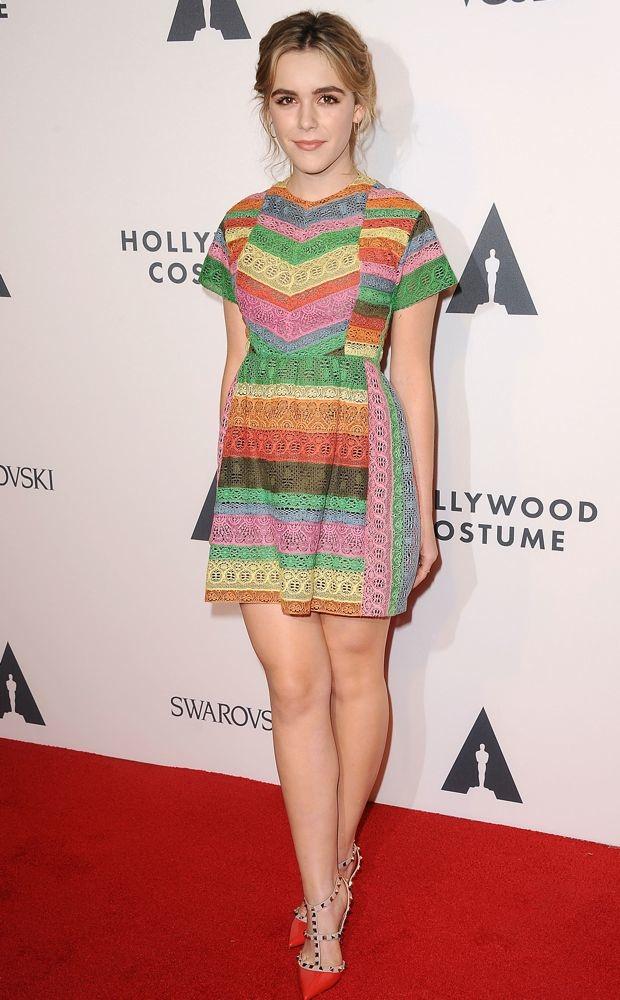 Kiernan Shipka rocks a rainbow-hued Valentino Resort 2015 dress