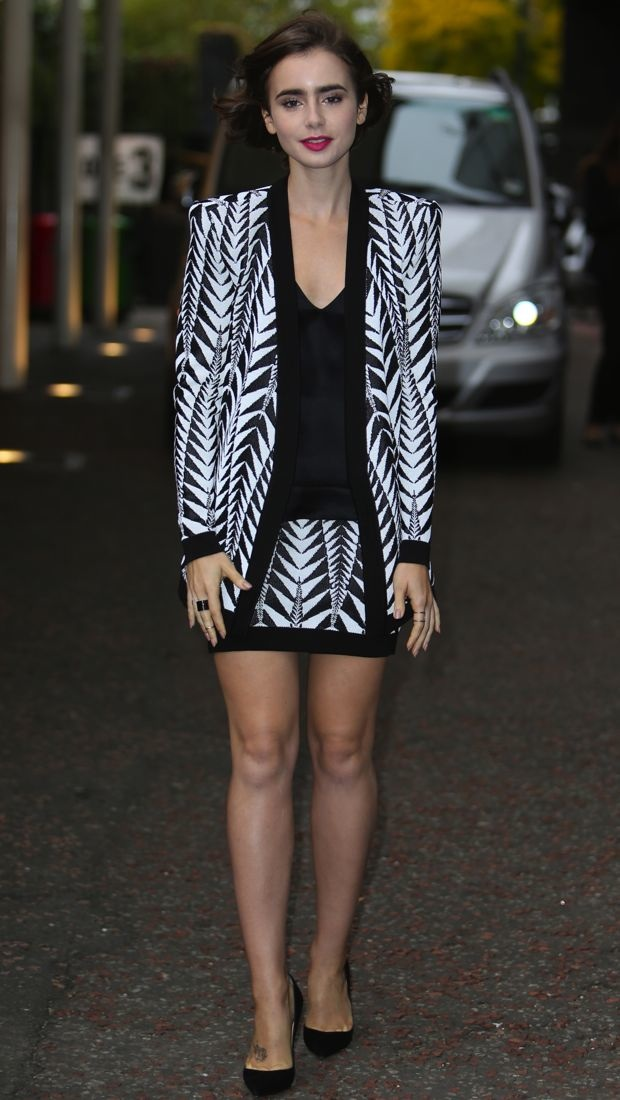 Lily Collins wears a graphic Balmain Resort 2015 look at ITV Studios