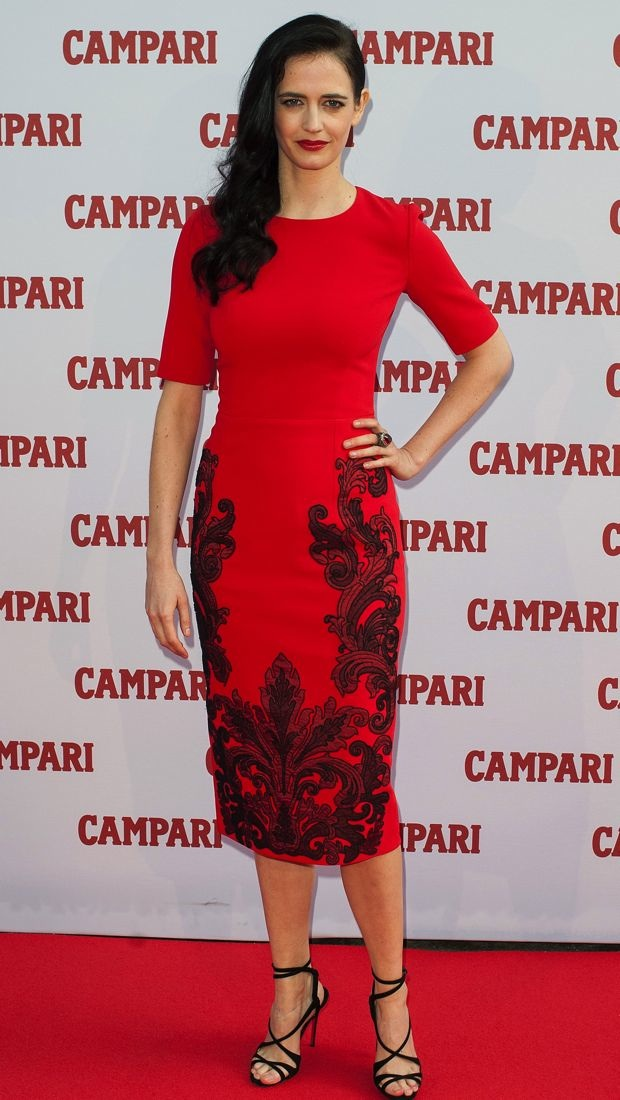 Eva Green wears a red Andrew Gn dress for calendar launch
