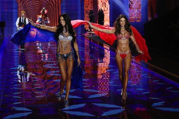 Alessandra Ambrosio and Adriana Lima in the 2014 Victorias Secret Fashion Show fantasy bras