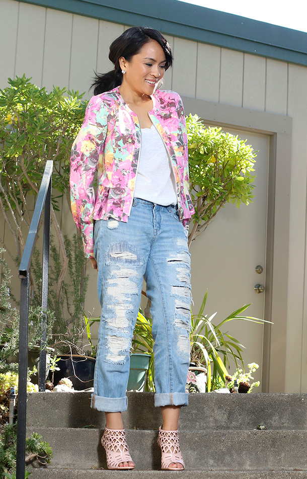 Macy's INC International Concepts Floral-Print Peplum Scuba Jacket, $99.50