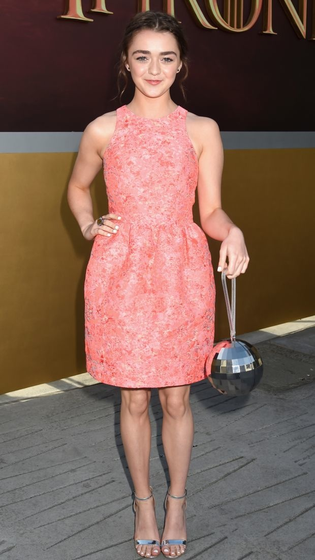 Maisie Williams wears a bright Markus Lupfer dress to the Game of Thrones Season 5 Premiere