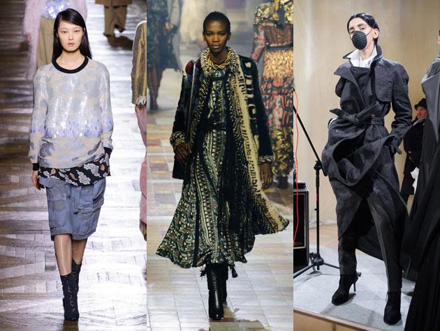 Paris Fashion Week three models on runway