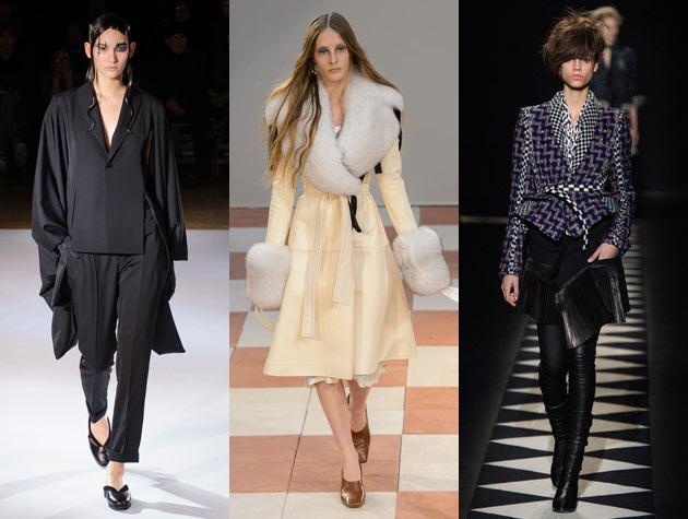 Paris Fashion Week three models on the runway