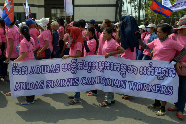 Cambodian garment workers demonstration