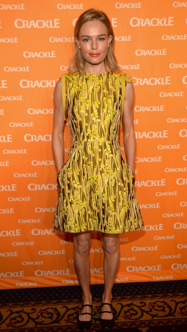 Kate Bosworth wears a colorful Giamba dress to the 2015 Crackle Upfront