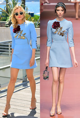Diane Kruger in blue Dolce & Gabbana dress with rose sequin design. Model in same look on runway.