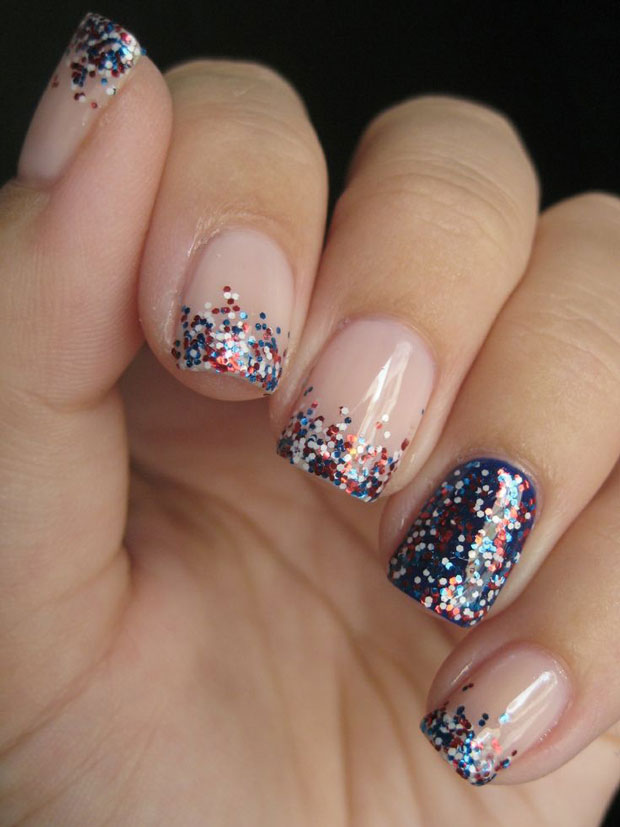 Festive Red White And Blue Glitter Memorial Day Summer Nail Art Ideas