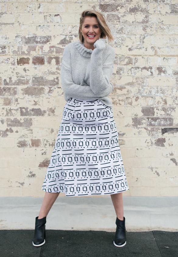 KLP wears Morrison Jumper, The Fifth Skirt