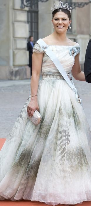 Princess Victoria of Sweden at a royal wedding in H&M Conscious Collection