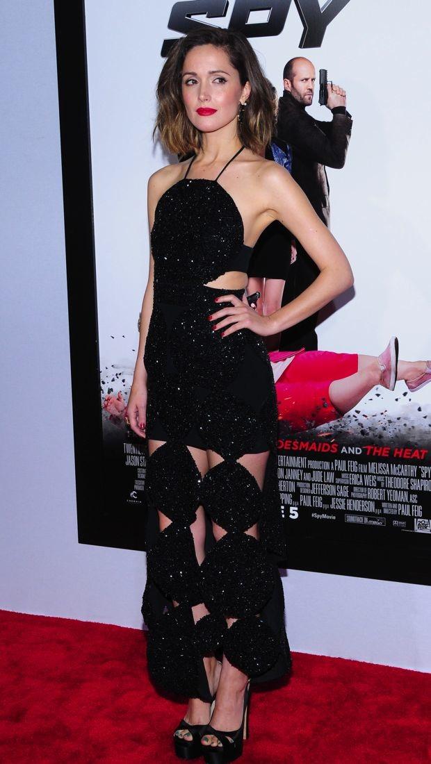 Rose Byrne flashes some skn in a black sparkling Osman dress
