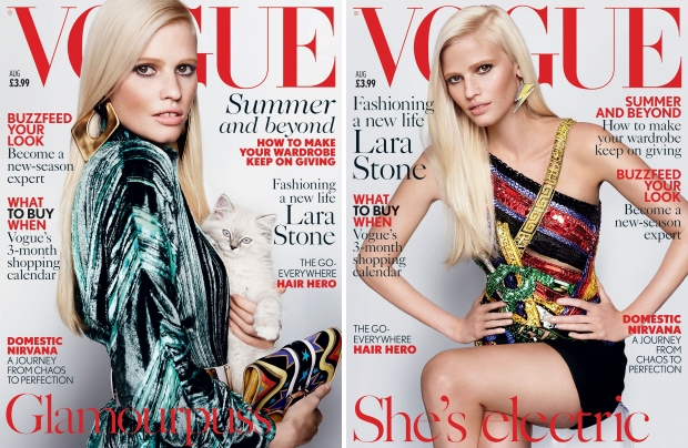 UK Vogue August 2015 Lara Stone by Mario Testino
