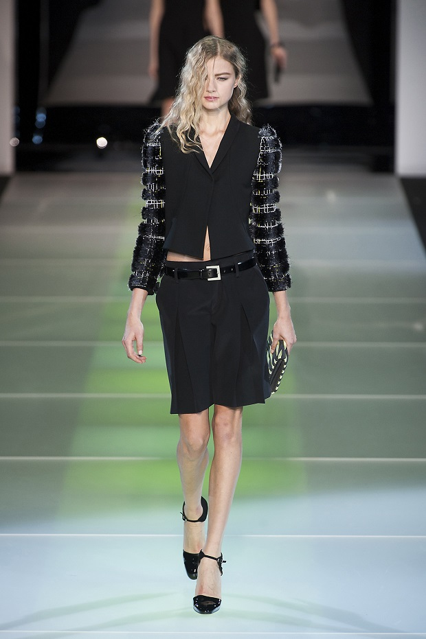 Georgie walked for Giorgio Armani's Fall 2014 Ready-to-Wear runway show