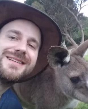 Marcus with a kangaroo
