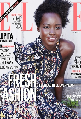 UK Elle January 2016 : Lupita Nyong'o by Kai F Zeng