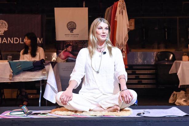 Angela Lindvall at Imapct Garden yoga