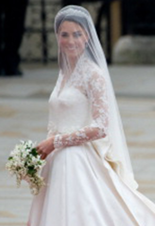 Kate Middleton in Alexander McQueen at her 2011 wedding to Prince William.