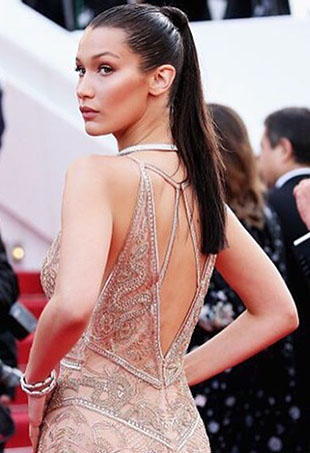 Bella Hadid shows off her sleek ponytail at Cannes 2016.