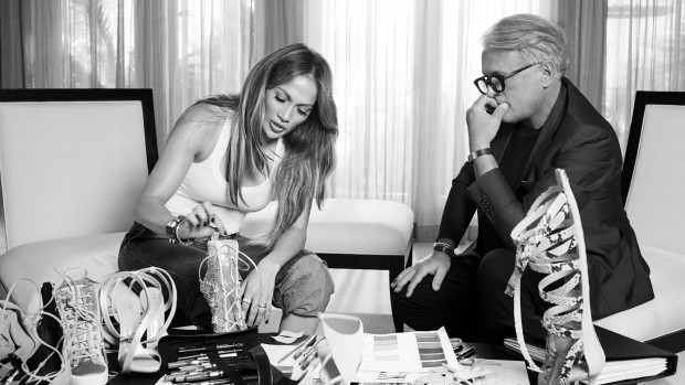 Giuseppe Zanotti and Jennifer Lopez at work on their new collaboration.